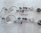 Handmade purple, gunmetal, and silver long dangle earrings with Swarovski crystals, and Amethyst, ready to ship, gifts for women, made in MT