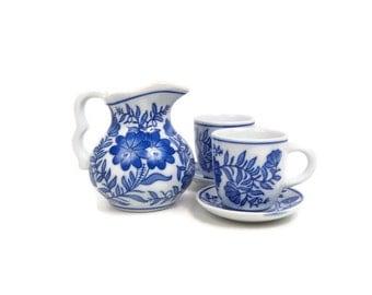 Vintage Blue and White Small Pitcher Teacups Saucers 5 Piece Set Childrens Tea Set Creamer Cobalt Floral Ewer