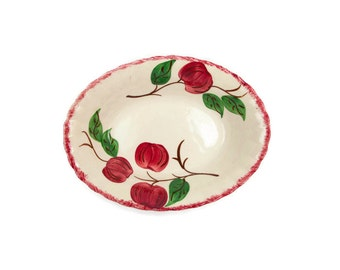 Vintage Blue Ridge Southern Potteries Crab Apple Oval Vegetable Bowl 9 Inch Hand Painted Made in USA