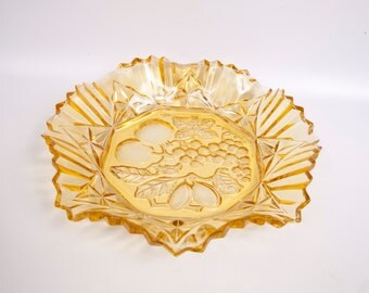 Vintage Amber Glass Bowl Embossed Fruit Design Federal Glass Pioneer Intaglio Pattern Ruffled Fluted Edge Serving Dish Large Platter