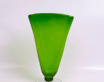 Vintage Hand Blown Flattened Glass Vase Emerald Green Art Glass Clear Footed Base Flared Elongated Opening