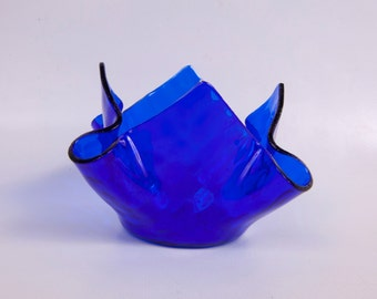 Vintage Blue Fused Glass Candle Holder Cobalt Blue Bowl Handkerchief Art Glass Candy Dish