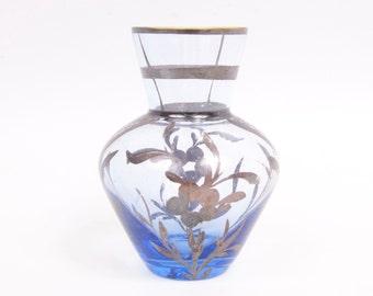 Vintage Cobalt Blue Glass Vase Miniature Gold Floral Design Hand Painted Blown Glass Bud Vase Flared Lip Bulbous Body