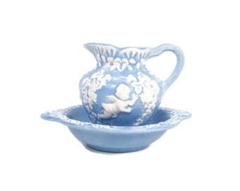 Vintage Renaissance Lefton Pitcher Bowl Embossed Cherub Grape and Floral Design Wegewood Blue Decor Vase