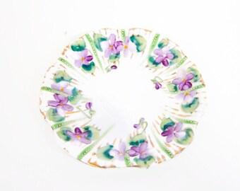 Vintage Purple Violets Saucer Lavender and Green Porcelain Hand Painted Gold Trim Beading Moriage Demitasse Saucer