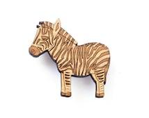 Zebra brooch - wooden animal brooch - eco friendly wood - African jewelry - animal pin