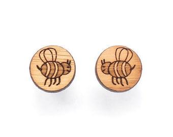 Bee studs - bee earrings - lasercut wooden bee jewellery - bees earrings