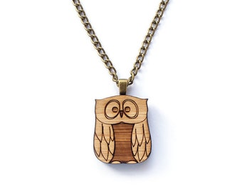 Owl necklace - laser cut jewellery made with eco friendly wood - owl jewelry - owl neck lace - owl gift