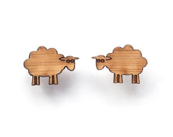 Sheep earrings - wooden eco friendly cute animal studs. Unique lasercut wooden jewelry, gift for knitter, New Zealand sheep jewelry