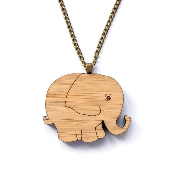 Elephant Necklace Eco Friendly Laser Cut Wooden Jewelry