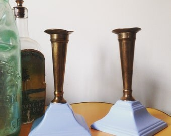 Pair Of Vintage Up Cycled Candle Sticks In Pastel Blue