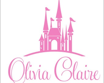 Personalized Princess Decal Vinyl Wall Decal Girls Bedroom Decal Princess Nursery Decal Name and Princess Castle Decal Vinyl Decals Girls