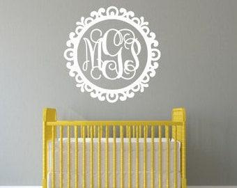 Vine Monogram Wall Decal Vinyl Wall Monogram Decal Monogram in Scroll Border Frame Wall Decal Ornate Frame Girls Nursery Bedroom Decal