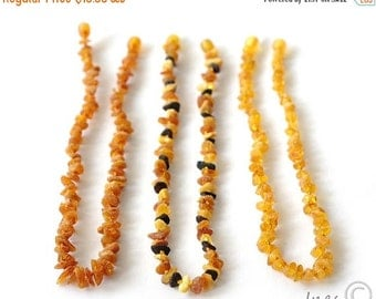15% OFF THRU OCT Set 3 Necklace, Genuine Baltic amber, Raw Unpolished Baby Amber Teething Necklace, Cognac Color Baltic Amber,  14 inch Chil