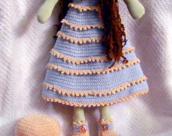 Malaika, muslin doll with crocheted dress, bonnet and shawl