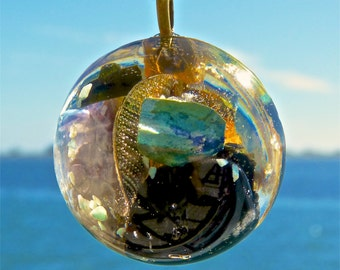 BLACK TOURMALINE and CHRYSOCOLLA Positive Energy Orgone Dome Pendant with Fluorite, Amazonite, Gold Leaf and 24k-Electrobonded Copper Disc.