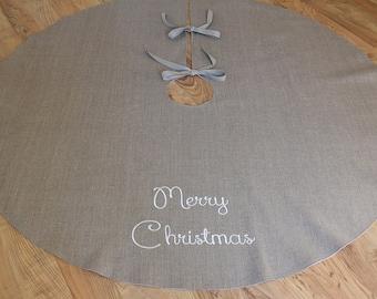 "Linen Tree skirt Personalized Tree skirt Merry Christmas tree skirt Lined Burlap 55"" Tree skirt Holidays decoration"