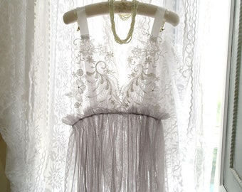 SALE Bridal Wedding Lingerie Lace Embroidery NightGown Light Pale Gray Sheer See Though Slip Dress Night gown ,Sexy Sleepwear Honeymoon