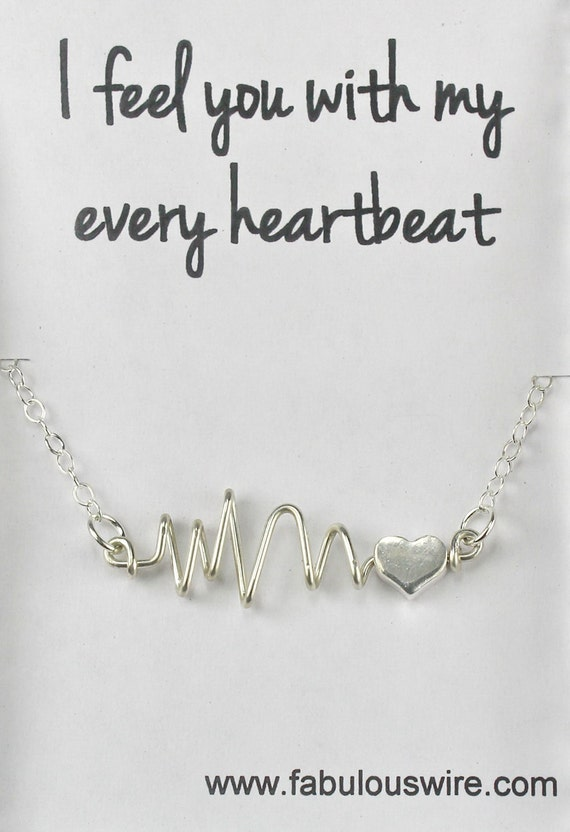 Heartbeat Necklace, Original handcrafted Wire Heart Beat Necklace, Love Heart Jewelry Y074