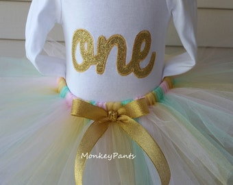 1st Birthday Girl Outfit - Pink, Mint and Gold Birthday Outfit - Gold One Birthday Shirt - Baby Girl 1st Birthday - Pink and Gold Birthday