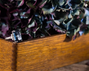 Vintage Sterling and Emerald Cut Sapphire Ring