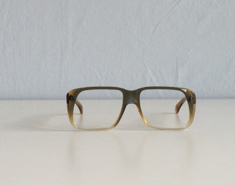 Vintage 1970s Eyeglass Frames / 70s Oversized Square Glasses Brown Fade / NOS Bausch and Lomb