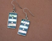 Mexican Alpaca Silver and Abalone Earrings