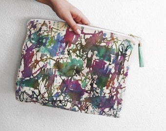 Art Clutch - Hand-Painted - One of a Kind- Painted Zipper Pouch - Artist's Bag - Purple Multi