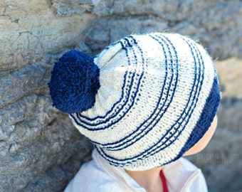 Navy & White Striped Slouchy Hat - Hand Knit Slouchy Hat - Knitted Slouchy Hat with pom pom- the SYDNEY Hat (Adult size) Unisex Teen Fashion