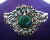 Floral Emerald with White Topaz accented Turkish Bracelet