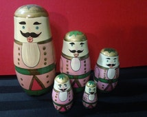 Vintage 5-piece Wooden Mustachioed Man Russian Matryoshka Nesting Doll ~ Made in China