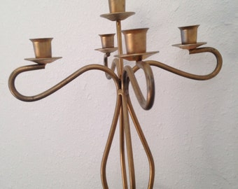Vintage Candelabra, Brass Coloured Metal Candle Holder, Vintage Tall Candleholder, Fancy Candelabra, Dining Room Vintage Decor