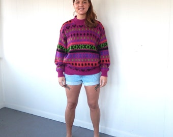 Vintage 80s Oversize Mohair Sweater - Purple, Pink & Green Pattern LG