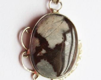 Vintage Sterling Large Picture Jasper Pendant with 1.5mm 18 inch box chain