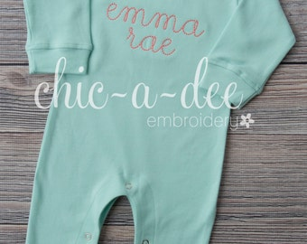 Personalized Long Sleeve Mint Romper