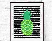 Pineapple Print - Tropical Pineapple Art - Pineapple Poster - Fruit Wall Art - Summer Print - Summer Art - Nursery Wall Art - Kids Decor
