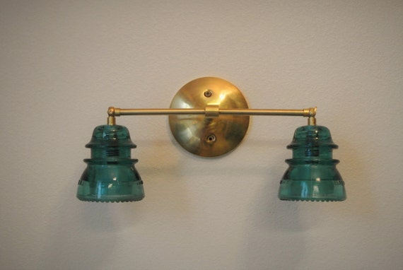 Insulator Glass Vanity Light : Double Glass Insulator Wired Wall Sconce by pepeandcarols on Etsy