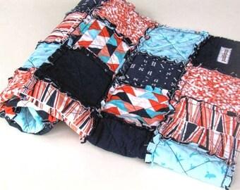 SALE! Waterfront Park Rag Quilt    Geometric Rag Quilt    Coral, Teal and Navy Rag Quilt    Baby Rag Quilt