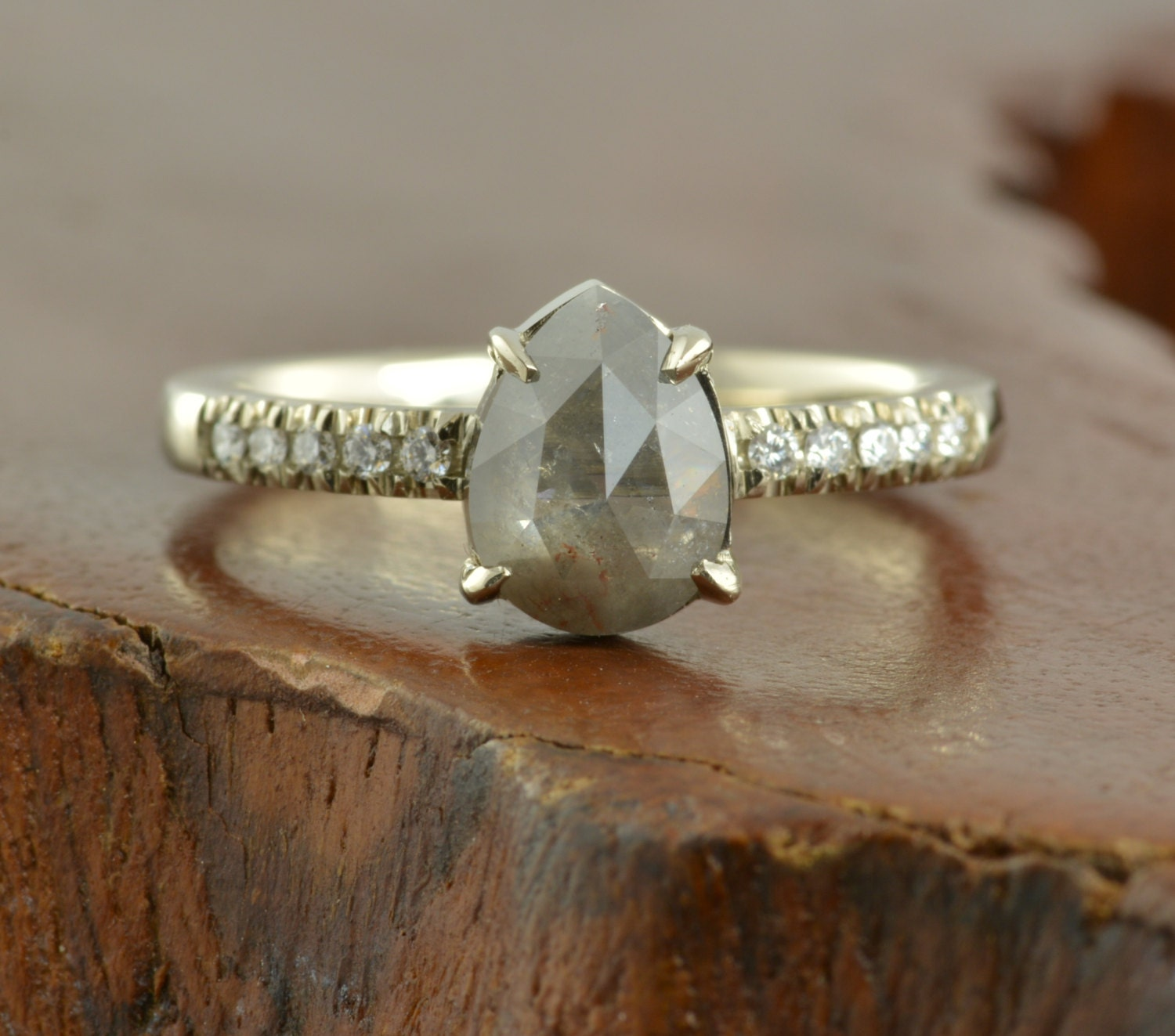 Grey Diamond Engagement Ring by PointNoPointStudio on Etsy