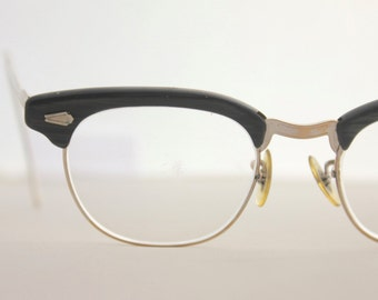 Vintage 50's Charcoal 12K Shuron Horn Cat Eye Eyeglasses