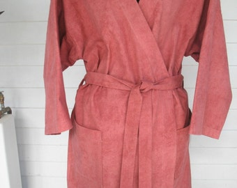 Robe Handmade Ladies Flannel/Warm Robe-Red Brown Marsala Color-Knee Length