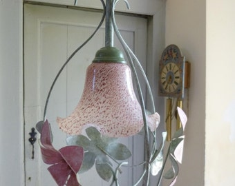 Vintage French Toleware Chandelier Pendant Light with Pink Glass Shade Pink Flowers