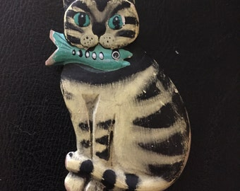 SALE Cat brooch, cat pin, cat and fish, cats, girlfriend gift, stocking stuffer, bridesmaid gift, animal jewelry