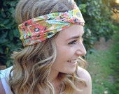 Crazy Orange Floral Turban, Twist Jersey Knit, Work Out Headband