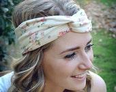 Cream Floral Turban, Twist Jersey Knit, Work Out Headband