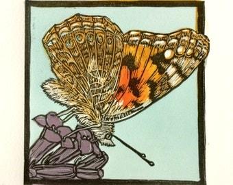 """Lady Vanessa Original Linocut Fine Art 4-plate Mini-Print 4"""" x 4"""""""