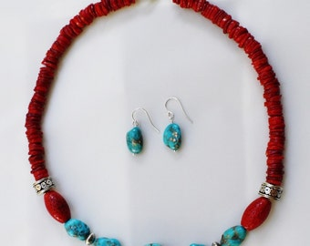 Red Coral, Bamboo & Turquoise Necklace with Torquoise Earrings