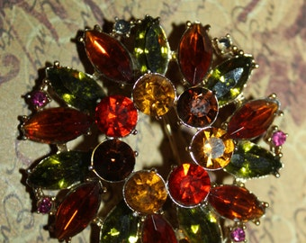 EMMONS Vintage Multi Colored Fall Autumn Scarf Brooch/Pin