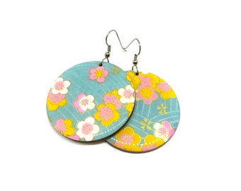 Aqua Earrings, Cherry Blossoms, Turquoise, Pastel, Japanese paper, Large Dangles, Laser cut, Resin finish, Pattern will vary, 2 sizes
