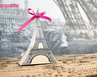 Eiffel Tower Favor Box Printable - DIY - Paris Party - INSTANT DOWNLOAD pdf